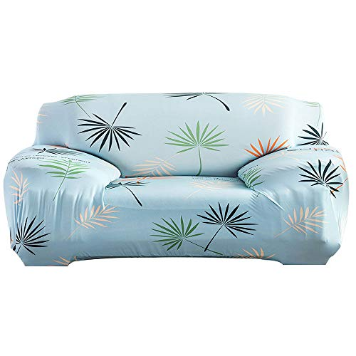 Piece Leaf Sofa 3 (Pawaca Stretch Slip Cover, Printed Anti-Slip Stylish Furniture Protector Sofa Cover with Adjustable Straps Anti-Slip Foam for Leather & Fabric Armchair Loveseat 3-Piece 4-Piece Couch (Leaves, 2-Seat))
