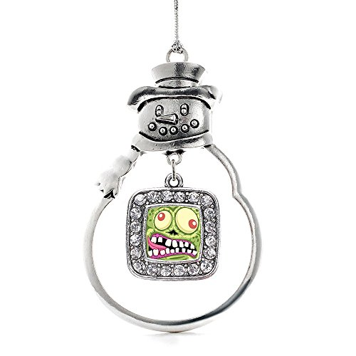(Inspired Silver Hungry Zombie Classic Snowman Holiday Decoration Christmas Tree Ornament)