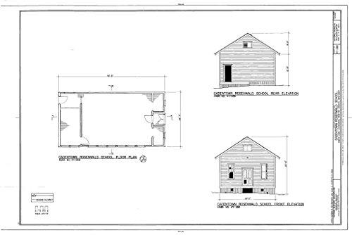 Historic Pictoric Blueprint Diagram HABS KY-288 (Sheet 2 of 3) - Cadentown Rosenwald School, Caden Lane, Lexington, Fayette County, KY 12in x 08in