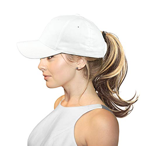 40ea39d7622 FADA Women Ponytail Baseball Hats Messy High Bun Hat Ponycaps Adjustable  Cotton Trucker Dad Cap