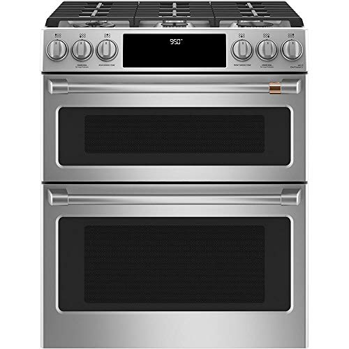 "Cafe 30"" ADA Slide-In Front Control Dual-Fuel DoublexA0;Oven With Convection Range"