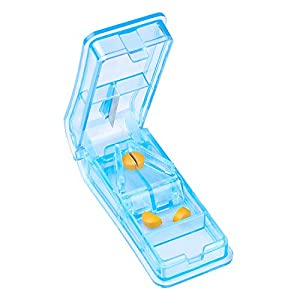 Flexzion Pill Splitter & Tablet Cutter, 2-in-1 Medicine Tablet Vitamin Cutting Tool w/ 2 Storage Compartments/Small Pill Box Containers, Mini Pill Chopper Travel Case, for Kids Adults Pets, Light Blue