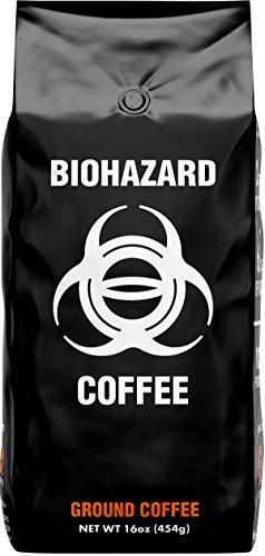 Biohazard Ground Coffee, The World's Strongest Coffee 928 mg Caffeine (16 oz)