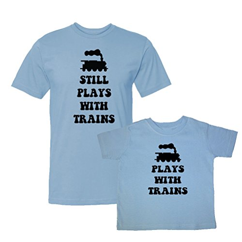 We Match! Plays with Trains & Still Plays with Trains Matching Adult T-Shirt & Child T-Shirt Set (Youth X-Large T-Shirt, Adult T-Shirt 2XL, Lt. Blue) ()