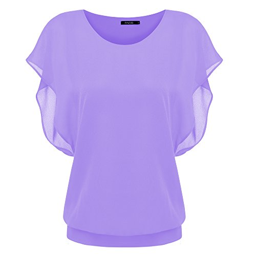 ZEARO Femenio Verano Elegante de Gasa O Cuello Camiseta Blusas Tops Shirts de Manga Corta Morado Claro