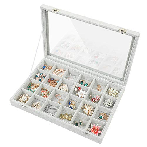 - Stylifing Clear Lid Velvet 24 Grid Jewelry Tray Stackable Display Showcase Lockable Organizer Box for Girls Women