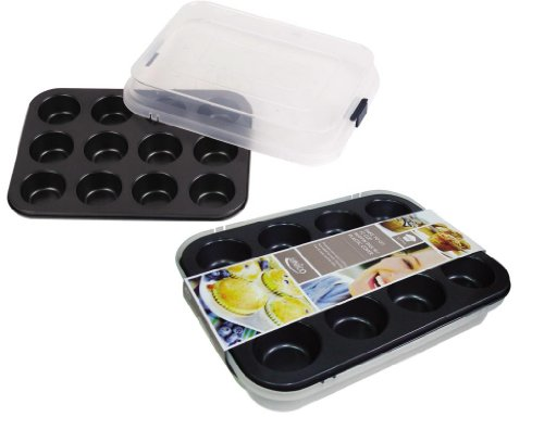 Euro-Home EW554 Gorgeous 12 Cup Muffin Pan with Plastic Lid, Multicolor by Euro-Home