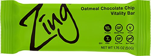 Grandmas Chocolate Chip - Zing Nutrition Bar, Oatmeal Chocolate Chip, (Pack of 12), Non-GMO Snack Bar for Optimum Energy, Gluten & Soy Free, Plant-Based Protein