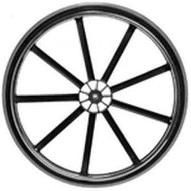 Invacare Wheel Assembly, 24 x 1 Inch, 9-Spoke Black Mag, Urethane Tire, Aluminum Handrim, 7/16 Inch Bearing