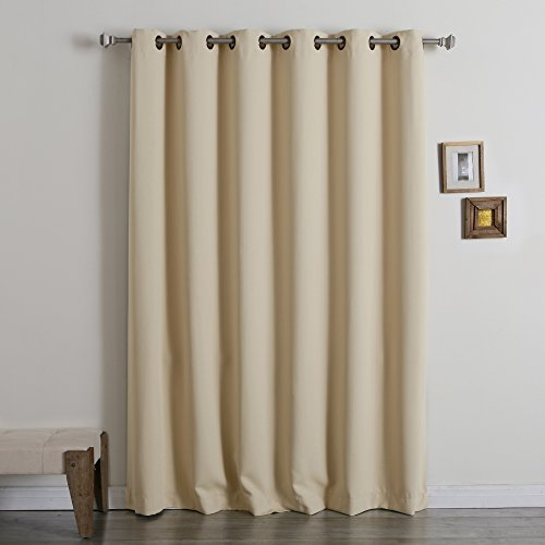 Best Home Fashion Wide Width Thermal Insulated Blackout Curtain – Antique Bronze Grommet Top – Beige – 80″W x 84″L – (1 Panel)