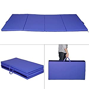 "Details about New Blue 4'x8'x2"" Gymnastics Mat Thick Folding Panel Gym Fitness Exercise Mat"