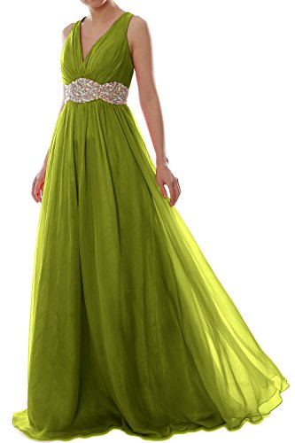 MACloth Women Straps V Neck Chiffon Long Prom Dress Wedding Formal Ball Gown Verde Oliva