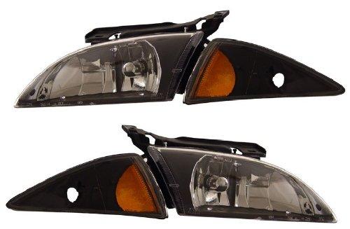Chevy Cavalier Crystal Headlights (CHEVY CAVALIER 00-02 CRYSTAL HEADLIGHT BLACK AMBER NEW)