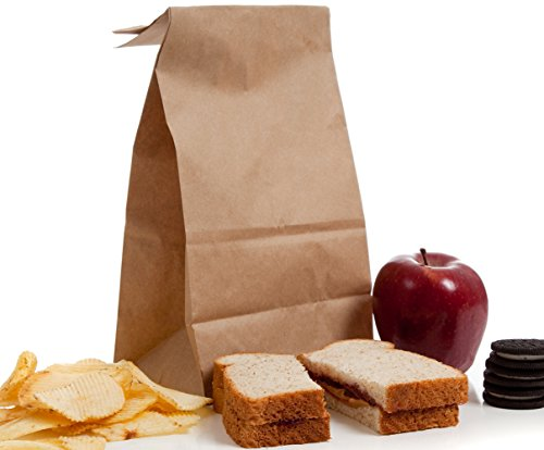 BagDream #6 Paper Lunch Bags Bread Bags 6x3.54x11 100pcs Durable Kraft Paper Bags, Paper Snack Bags, 100% Recycled Kraft Paper, Grocery Bags