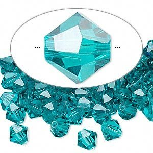 Swarovski Crystal 5328 6mm XILION Blue Zircon Crystal Bicones - 24 Pack