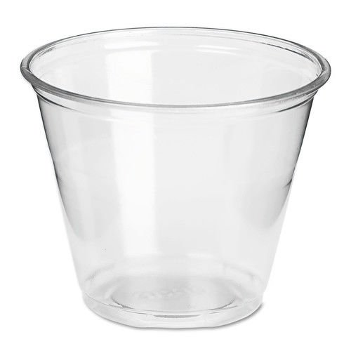 - Dixie Clear Squat PETE Plastic Cup, 9 Ounce - 1000 per case.