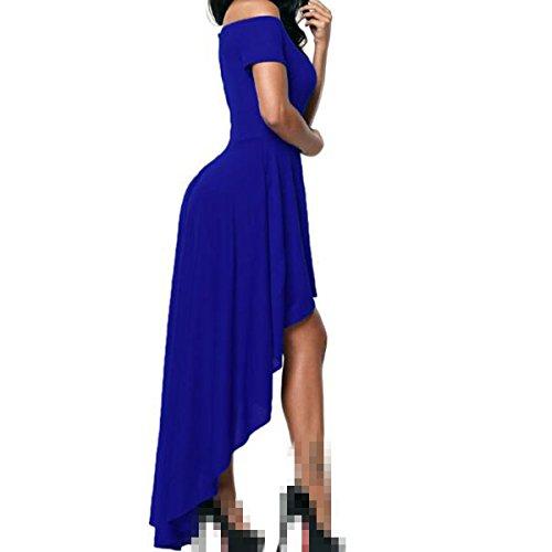 Il Bra Spalline Lungo Corte La Colletto Cena Maniche Blue Jingliya Senza Vestito Davanti Corto H8dPqwxRY