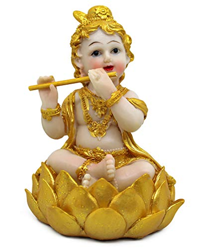 TIED RIBBONS Krishna Statue Idol for Center Table Home Living Room Bedroom Decoration (Golden, Resin)