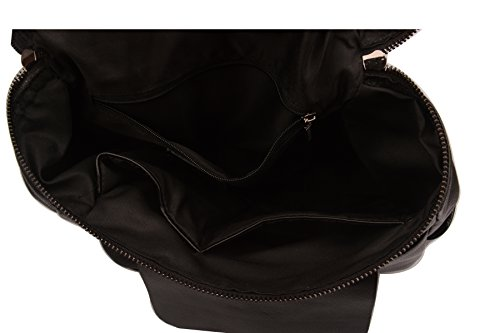 Fiswiss Women's Genuine Leather Fashion Backpack School Backpack Purse Handbags (Black) by Fiswiss (Image #6)