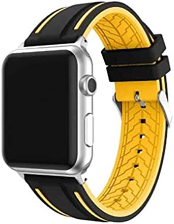 Double Color Mixed Silicone Watch Band For Smart Watch 42mm Sports Strap -black and yellow