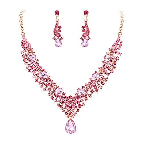 Tone Jewelry Gold Set Rhinestone - Flyonce Women's Wedding Bridal Austrian Crystal Costume Statement Jewelry Set for Banquet, Prom Gold-Tone Pink