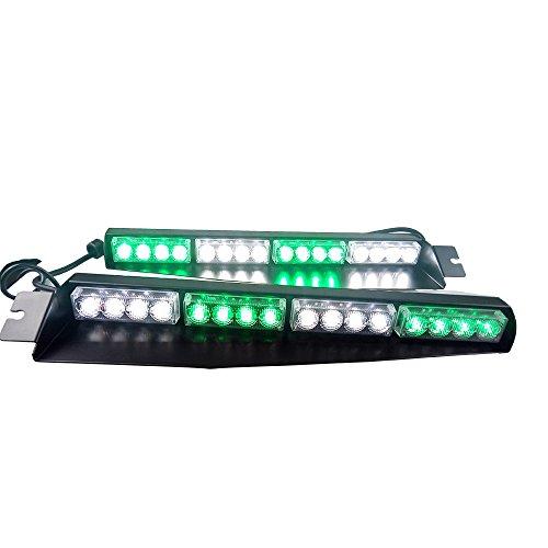 32LED 32W LED Lightbar Visor Light Windshield Emergency Hazard Warning Strobe Beacon Split Mount Deck Dash Lamp(Green White&Green White) hot sale
