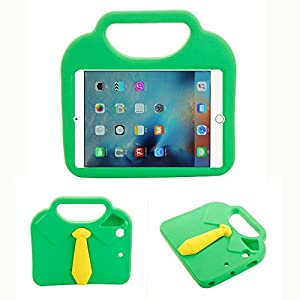 Kingkok Cute Shockproof Stand Kids Ipad Mini Case Clear Light Lovely EVA Necktie Mini Ipad Tablet Case for Mini1/Mini2/Mini3/Mini4 [Green]