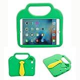 Kingkok Shockproof Light Soft EVA Necktie Kids Ipad Air Case Cover Cute Non-toxic Stand Ipad Air1 Case for Apple Ipad Air1, Air2 [Green]