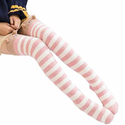 Fur Christmas Soft Stocking (Binmer(TM) Women Girl Winter Over Knee Leg Warmer Soft Cotton Socks Leggin (Pink))