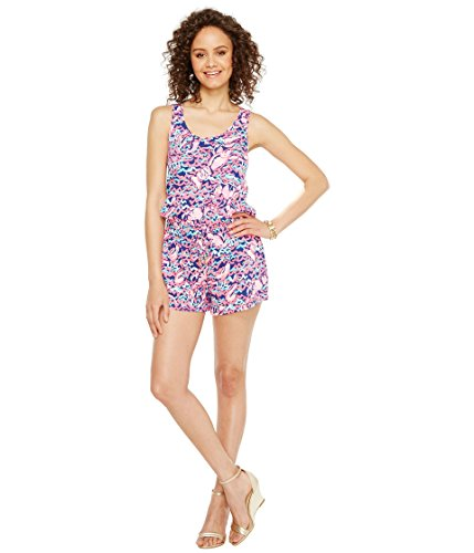 Lilly Pulitzer Women's Tala Romper Resort Navy Pop Up Lobstah Roll (Lilly Pulitzer Tie)