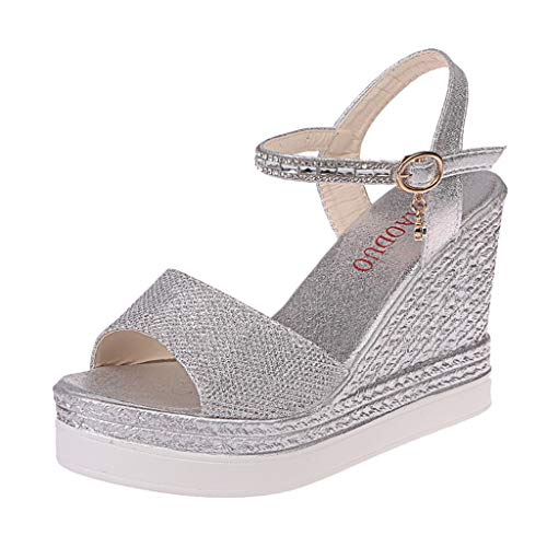 Women Ladies Fashion Wedges Causal Shoes Super High Shoes Sandals Gladiator Sandals for Women Girl 2019 New Silver