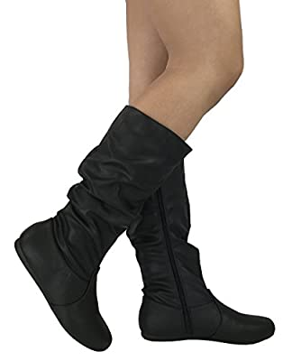 Wells Collection Womens Wonda Boots Soft Slouchy Flat to Low Heel Under Knee High, Black PU, 7