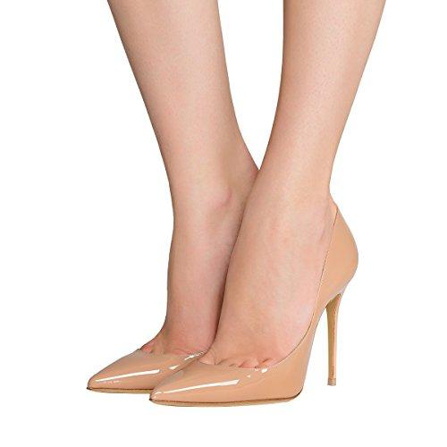 Guoar Para Mujer Punta Estrecha Boca Poco Profunda 10 Cm Stiletto Tacón Alto Tallas 4-12 Us Nude