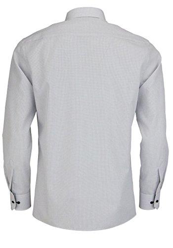 ETERNA hommes Modern fit Chemise à manches longues, popeline, plaid gris / blanc