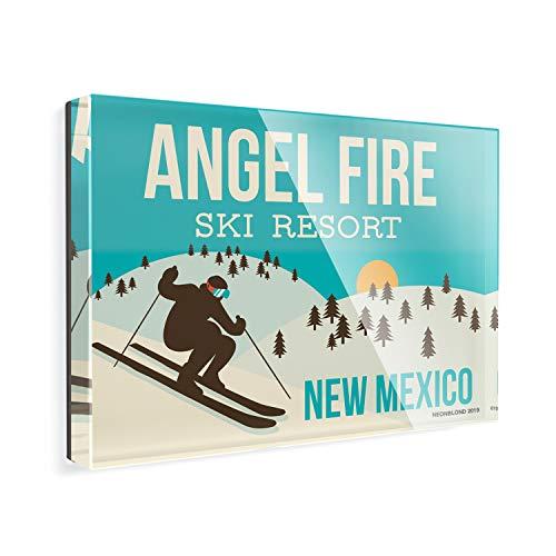 Acrylic Fridge Magnet Angel Fire Ski Resort - New Mexico Ski Resort NEONBLOND