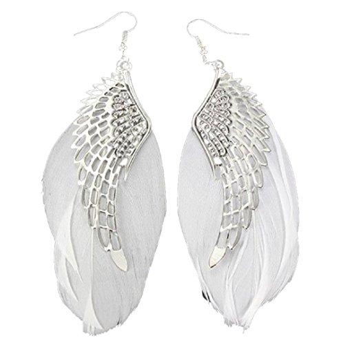HIRIRI Women Lady Angel Metal Wing Bohemian Handmade Vintage Feather Long Drop Earrings (White)
