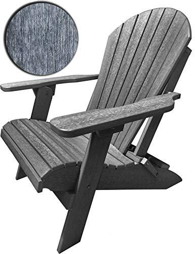 DURAWEATHER POLY Classic King Size Folding Adirondack Chair (Driftwood Grey) (Adirondack Folding Polywood Chair)