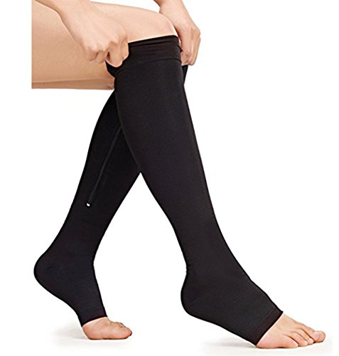 Ailaka Medical Zipper Compression Calf Socks 20-30 mmHg for Women & Men, Knee High Open Toe Firm Support Graduated Varicose Veins Hosiery for Edema, Swelling, Pregnancy, Recovery