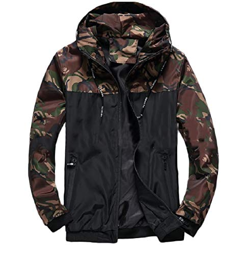 MogogoMen Full Outwear Green Colors Assorted Camouflage Zip Hoodie Jacket Simple fIFrZqI