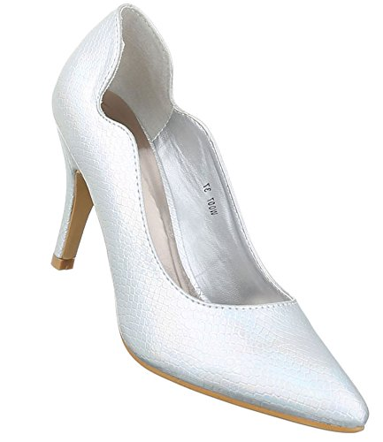 Damen Pumps Schuhe Elegant High Heels Silber