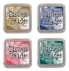 Tim Holtz Ranger Distress Oxide Ink Bundle M - Festive Berries, Chipped Sapphire, Pine Needles, and Brushed Corduroy for November 2018