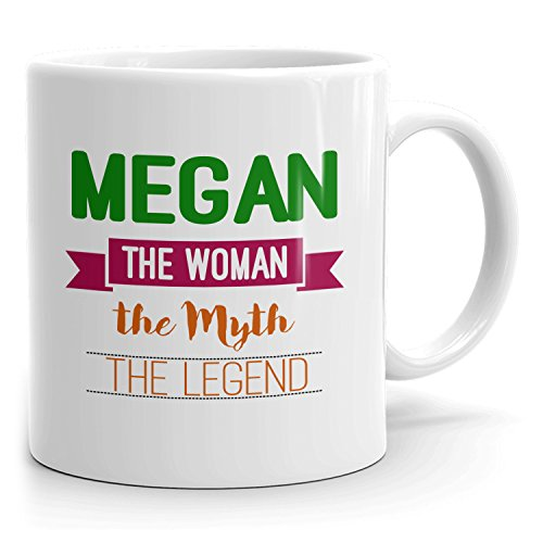 Personalized Megan Mug - The Woman The Myth The Legend - Gifts for Women, Wife, Mom, Girlfriend - 11oz White Mug - Green
