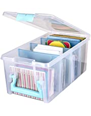 ArtBin 6925AA Semi Satchel with Removable Dividers, Portable Art & Craft Organizer with Handle, [1] Plastic Storage Case, Clear with Aqua Accents, 0