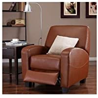 Camel Leather Recliner Chair Luxury Sofa Seat Couch Lounger Home Theater Room