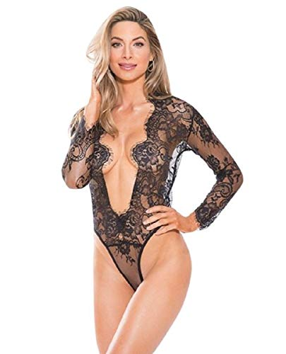 Shirley of Hollywood Lace Teddy Black Long Sleeves - Shirley Hollywood Of Lace Teddies