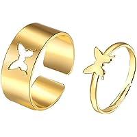 Fjärilsringar för kvinnor, fjärilsrosa löfte par matchande vänskap söt trendig läcker ring set för tonårstjejer…