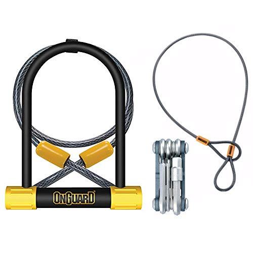 (ONGUARD Bulldog STD LM Bike U-Lock (4.53 x 9.06-in.) with Akita Cinch Cable and Topeak Mini 9 Multi Tool Kit)