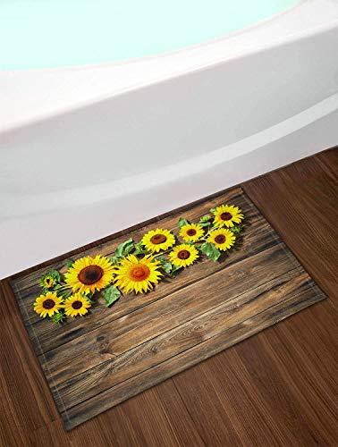 LB Bright Yellow Sunflower Door Mat,Blooming Sunflowers with Green Leaves on Brown Wood Plank Country Bathroom Rug 16x24 Inch Non-Slip Indoor Outdoor Bathroom Welcome Floor Mat
