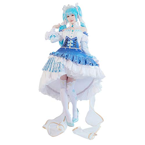cossun Snow Miku 2019 Hatsune Miku Cosplay Costume 10th Anniversary Dress Halloween Costume Wig and Crown Can Add Payment (M) -