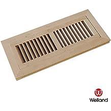 WELLAND 4 Inch x 12 Inch Hickory Hardwood Vent Floor Register Flush Mount Unfinished